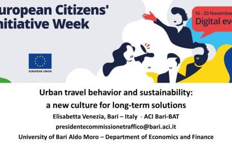 Sostenibilità e una nuova cultura per la mobilità urbana: l'Ac Bari Bat alla Settimana europea dell'iniziativa dei cittadini